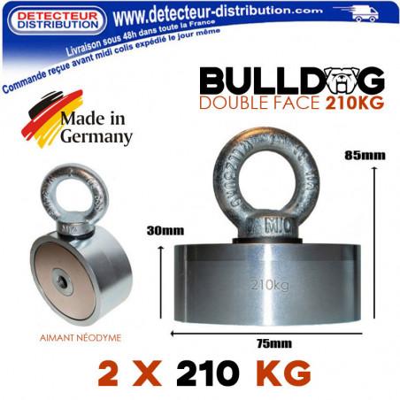Aimant Bulldog Néodyme double face 210kg fabriqué en Allemagne