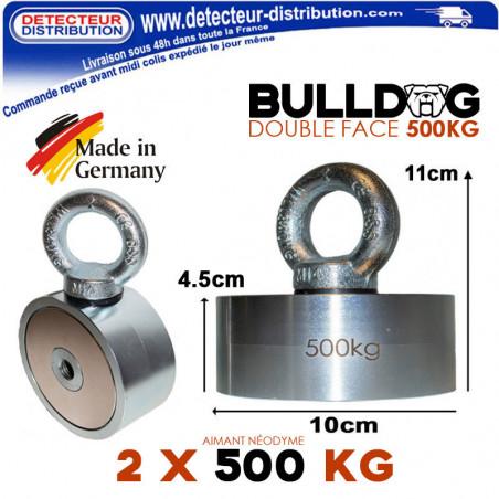 Aimant Bulldog Néodyme double face 500kg fabriqué en Allemagne